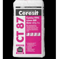 CERESIT CT 87 Смесь для приклеивания и армирования пенопласта (белая), 25кг